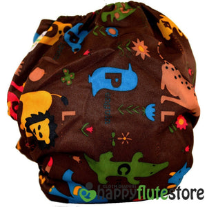 Happy Flute All in One Charcoal Bamboo Cloth Diaper - Wild Animals Dark (back)