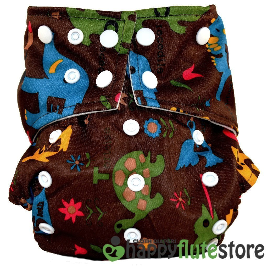 Happy Flute All in One Charcoal Bamboo Cloth Diaper - Wild Animals Dark