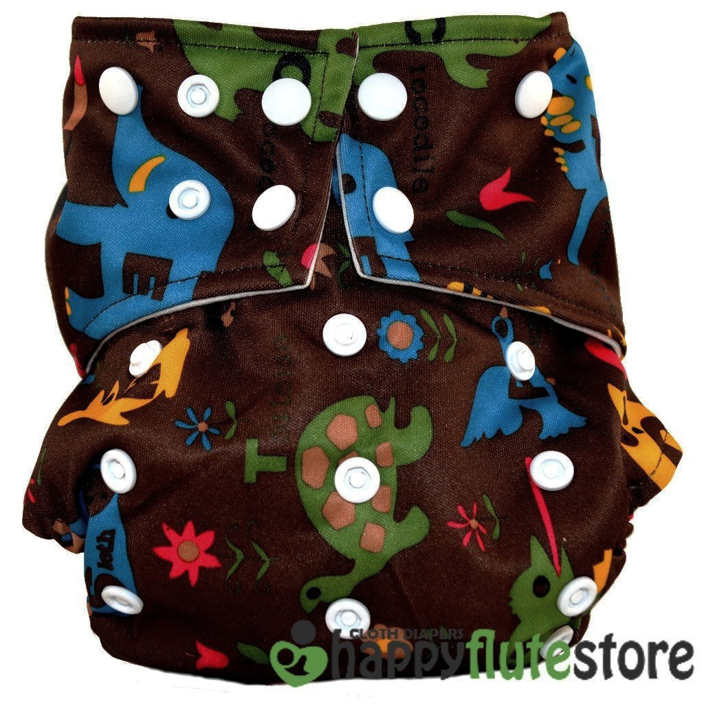 Happy Flute All in One Cotton Bamboo Cloth Diaper - Wild Animals Dark