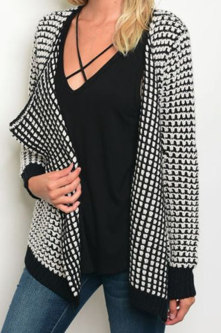 Chunky Knit Cardi in Black and White