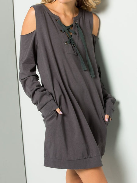 Lace-Up Open Shoulder Sweatshirt Dress