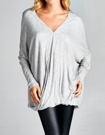 Heather Grey Wrap Front Top