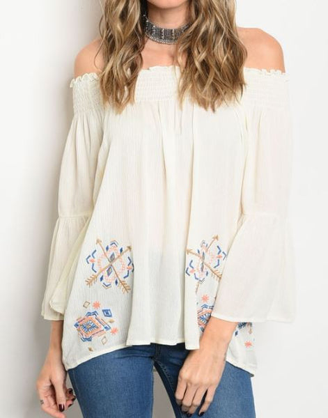 Embroidered Off-Shoulder Tunic