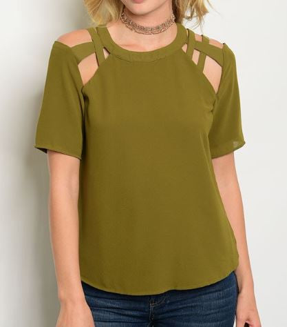 Caged Blouse in Olive
