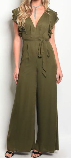 Ruffle Sleeve Jumpsuit in Olive