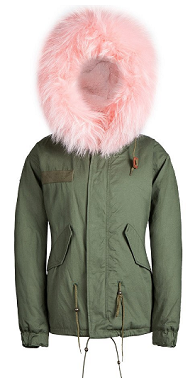 Powder Pink Raccoon Fur Parka
