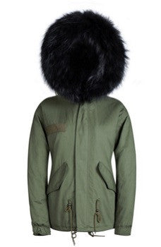 Black Raccoon Fur Parka