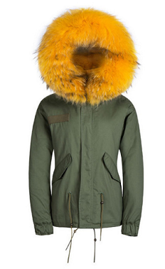 Raccoon Fur Parka Yellow