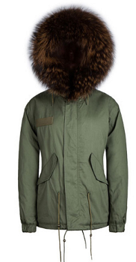 Raccoon Fur Parka Coffee