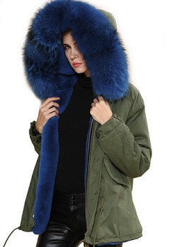 Blue Raccoon Fur Parka