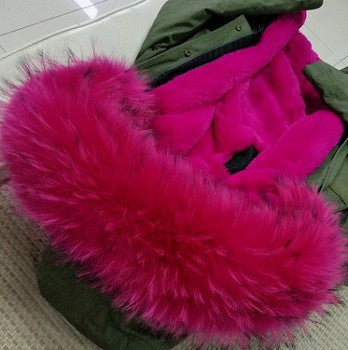 Pink Raccoon Fur Parka