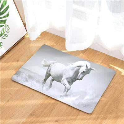 Amazing White Horse Splashing Water Doormat doormats