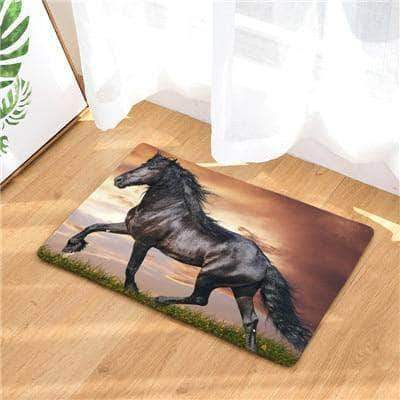 Black Stallion Horse Doormat doormats