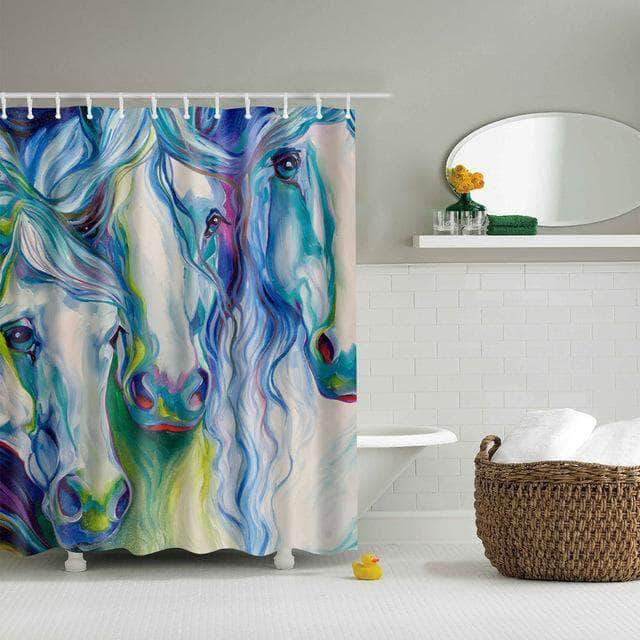 Colorful Horses Shower Curtain Design curtain