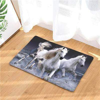 Three Wild White Horses Doormat doormats