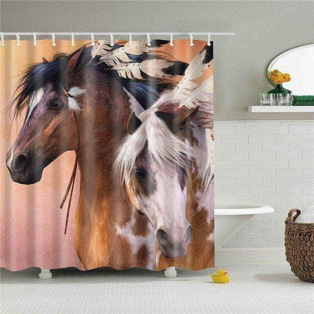 Tow Native American Horses Shower Curtain curtain