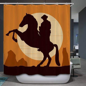Western Sunset Horse and Cowboy Curtain curtain