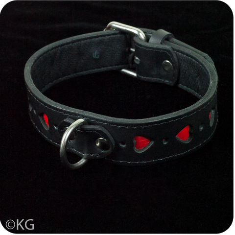 High Quality Real Leather Collar with Hearts