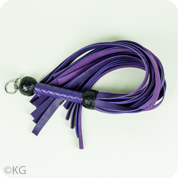 Playdate Exclusive 20-Tail Leather Flogger in Purple