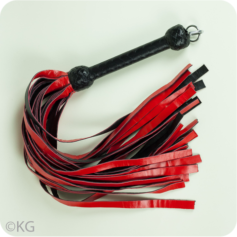Playdate Exclusive Red and Black 30-Tail Leather Flogger