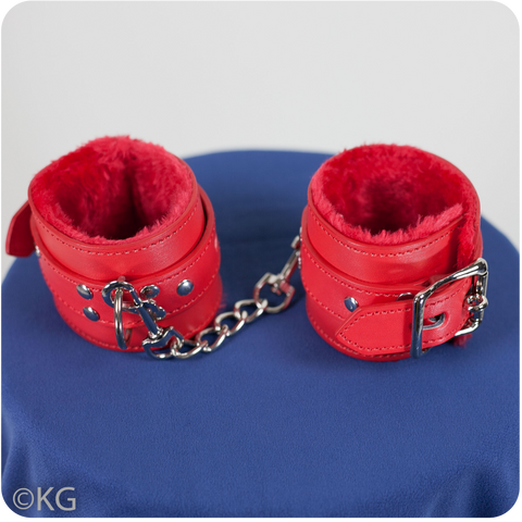 Vegan Leather Wrist Cuffs lined with Fur