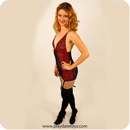 Playdate Babydoll with Red Lace Panels