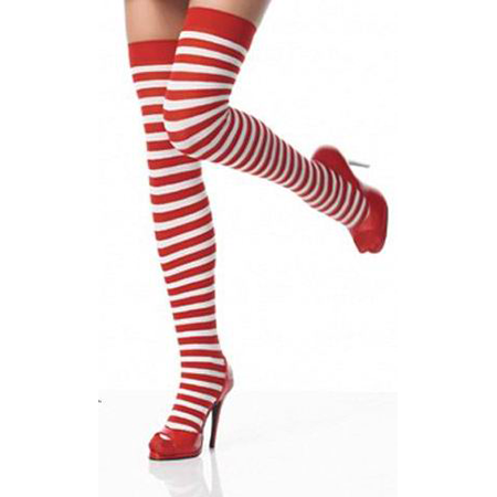Red White Stripe Stockings