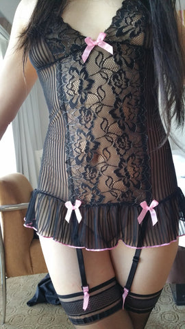 Lacy Black and Pink Teddy with Garter and Panty