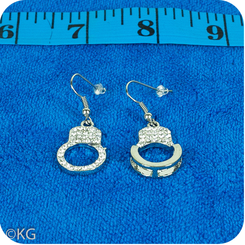 Rhinestone Handcuffs Earrings