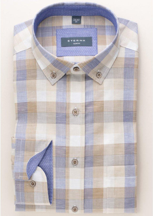 ETERNA - Chemise manches longues Modern Fit - Beige/Bleu