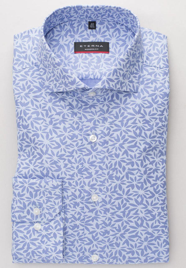 ETERNA - Chemise florale manches longues Modern Fit