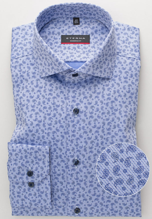 ETERNA - Chemise paisley manches longues Modern Fit - LE CAPITAINE D'A BORD