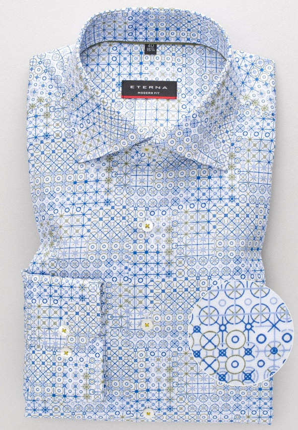 ETERNA - Chemise motifs manches longues Modern Fit