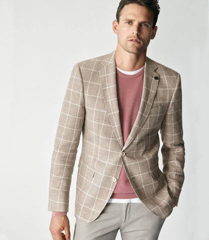 Digel - Doug - Veston de lin Windowpane - Beige