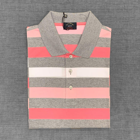 Paul & Shark - Polo rayé manches courtes - Gris/Rose