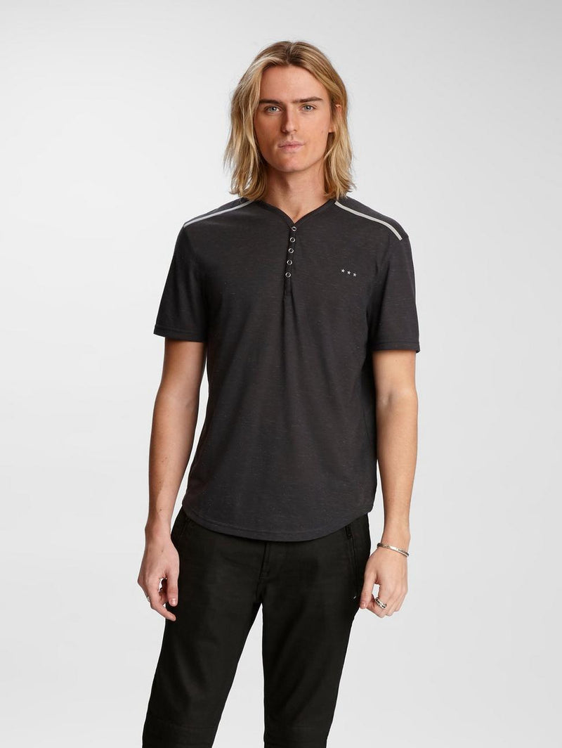 John Varvatos - Lansing Snap Henley (disponible en 2 couleurs) - LE CAPITAINE D'A BORD