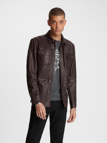 John Varvatos - Leather Shirt Jacket - LE CAPITAINE D'A BORD