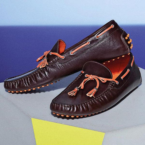 Paul & Shark - Mocassin de cuir - Brun/Orange - LE CAPITAINE D'A BORD