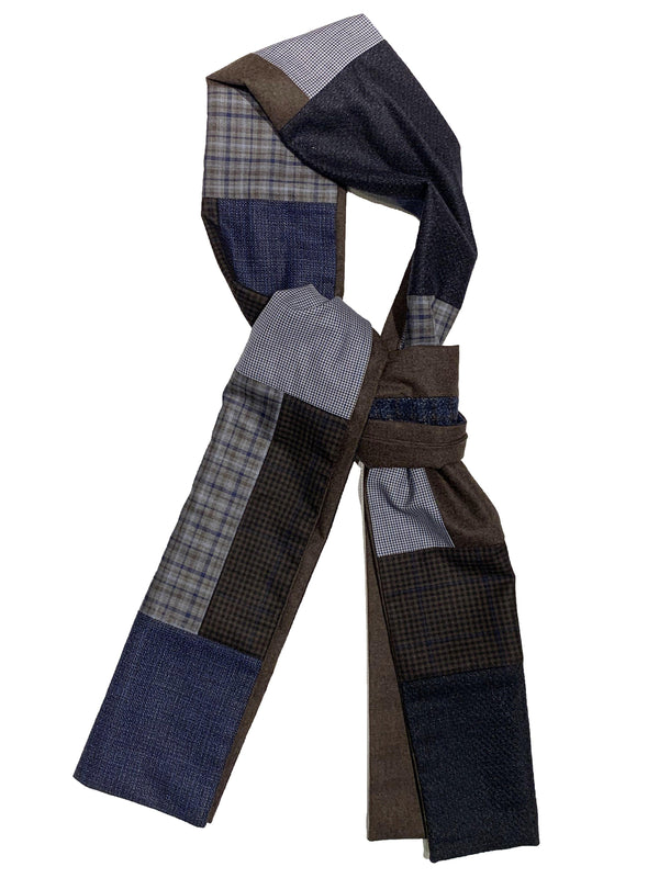 Swell Fellow - Foulard Patchwork - Bleu/Brun
