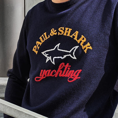 Paul & Shark - Col rond de laine avec logo Paul & Shark