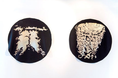 Cotton embroidered hand cut lamé on wool silk cloth 2 x 150cm diameter 2018 Photo: Nicola Bailey