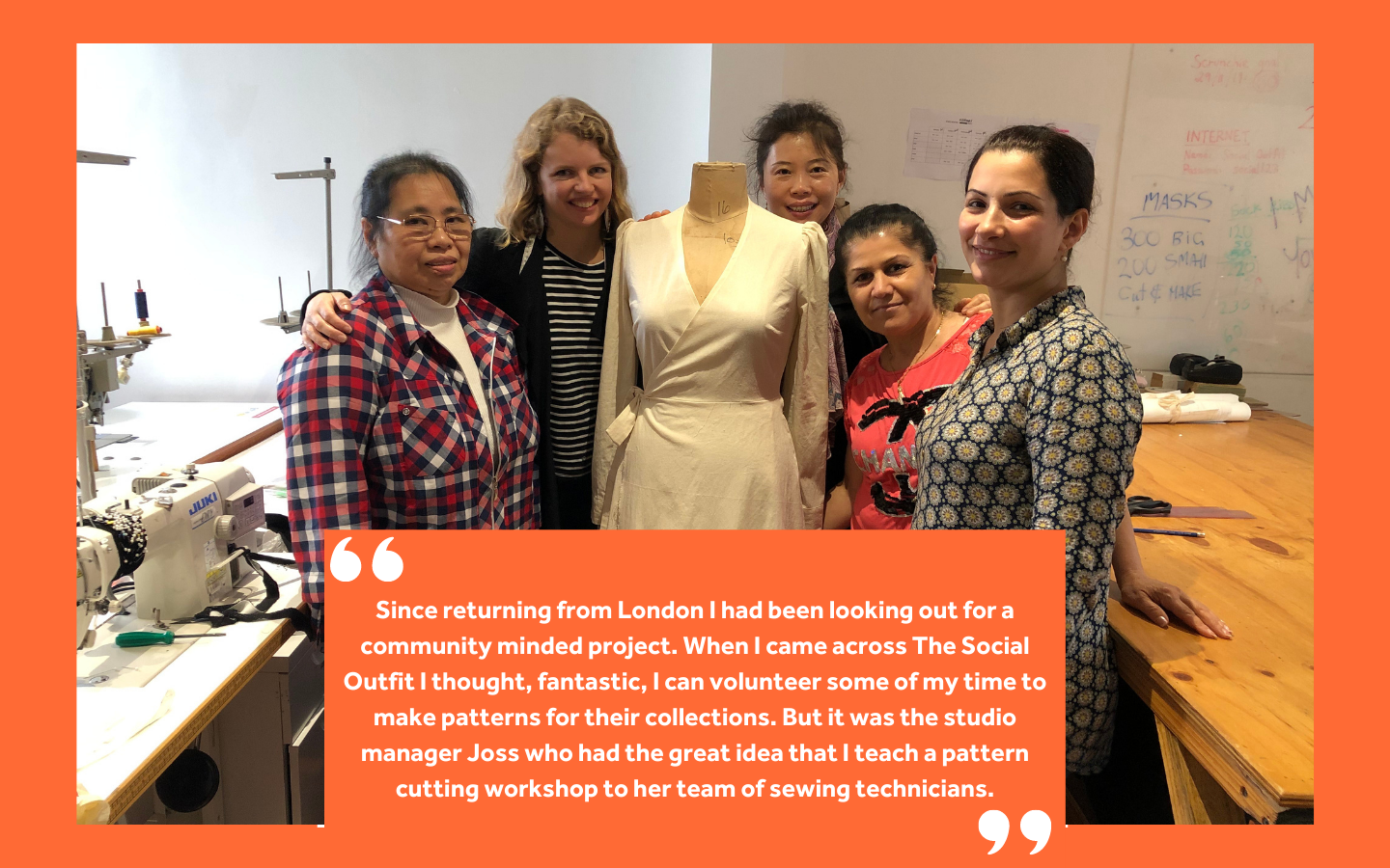 The team and Alice from Paper Cloth Cut and one of the designs created during the workshop!
