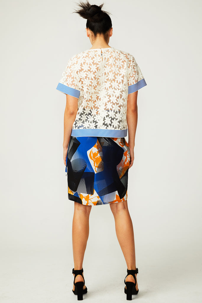 Topographic Bloom Wrap Skirt