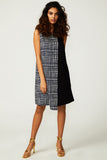 Navy Grid Layered Dress