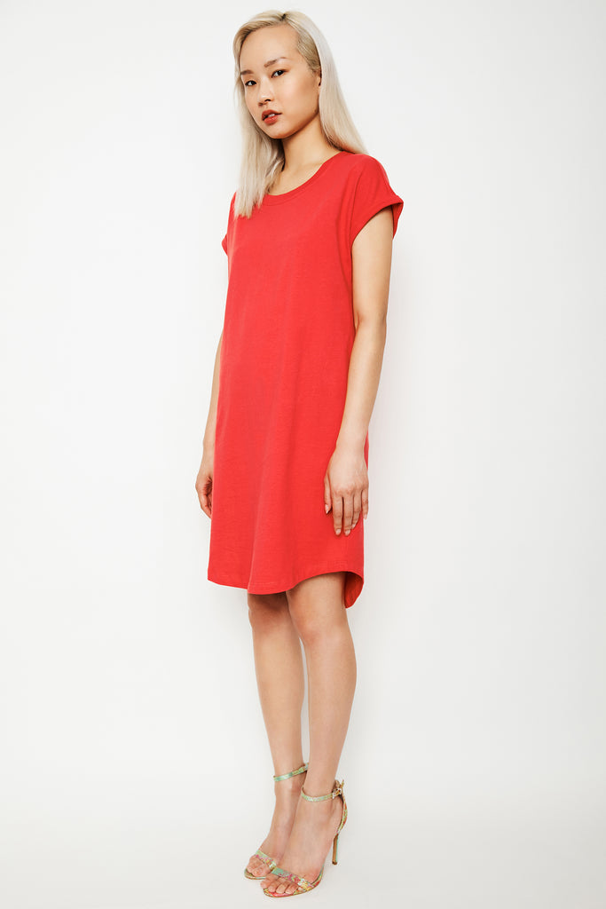 Dorsu x The Social Outfit Coral Rolled Sleeve Dress