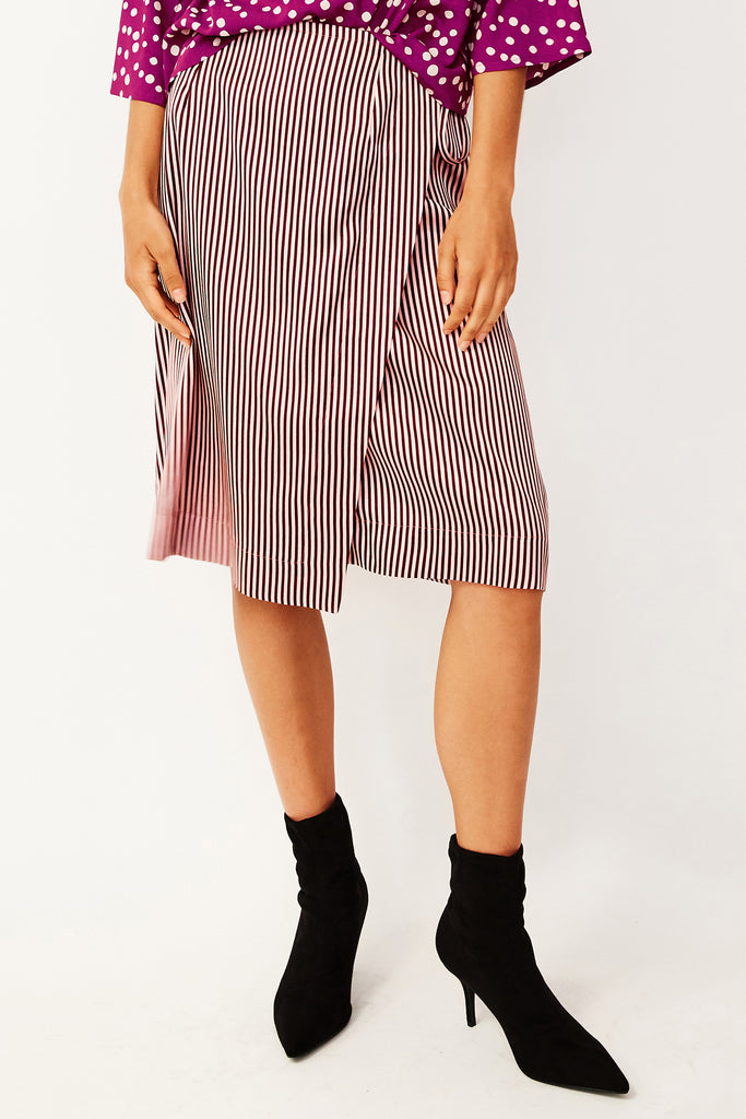 Blush Stripe Wrap Midi Skirt