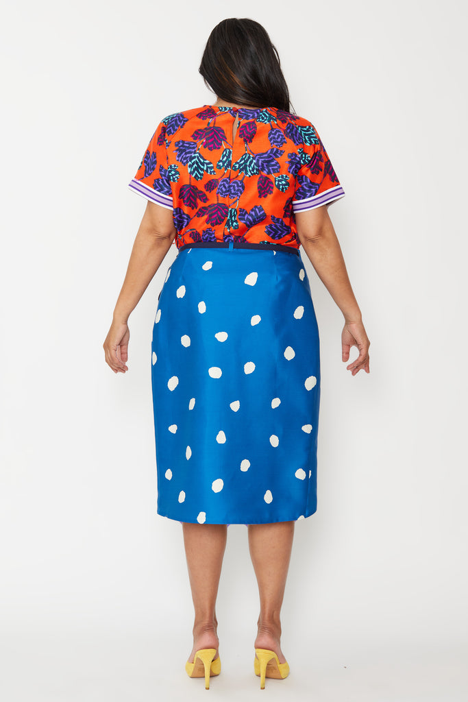 Dusk wears our Blue Lollipop Wrap Skirt for SS20 'FAM BAM'