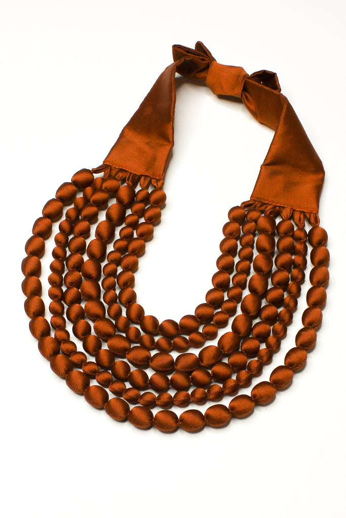 Bronze Silk Multi Strand Necklace