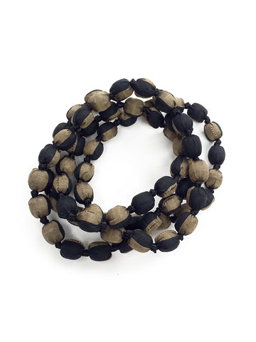 Black/Gold Silk Single Strand Necklace