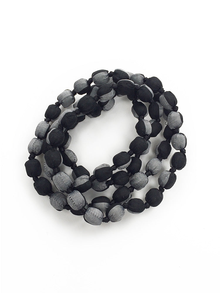 Black/Silver Silk Single Strand Necklace